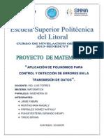 Aplicación de Polinomios Para Control y Detección de Errores en La Transmisión de Datos