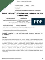 Solar Energy – the Sustainable Energy Option in Karnataka