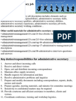 Administrative Secretary Job Description