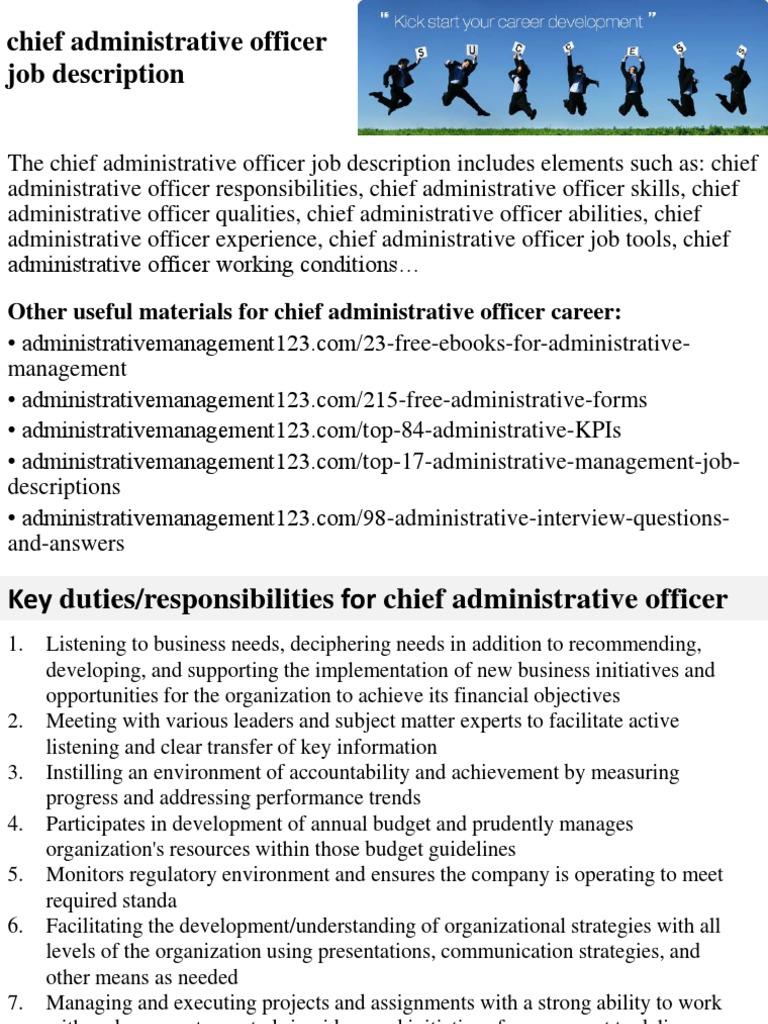 Chief Administrative Officer Job Description | Strategic Management |  Employment