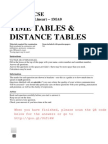 Timetables and Distance Tables