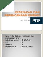 Kebijakan Dan Perencanaan Energi