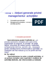 Managementul Achizitiilor -  Notiuni Generale