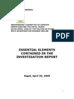 Essential Elements Contained in the Investigation Report- The Mutsinzi Report- Rwanda -