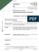 FD X 50 757 Lignes Directrices Pour La Formation