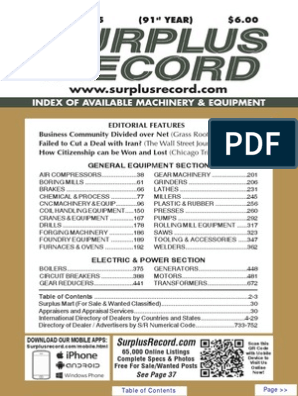 JANUARY 2015 Surplus Record Machinery & Equipment Directory