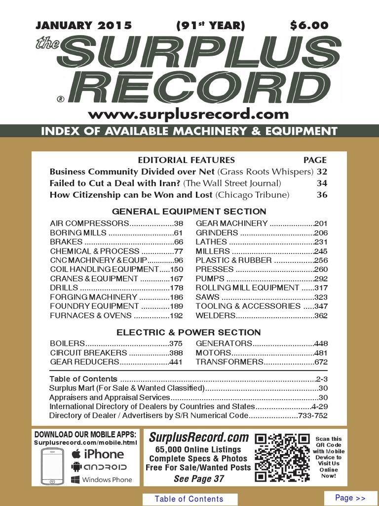 january 2015 surplus record machinery equipment directory