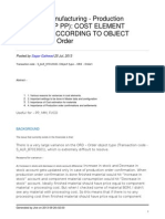 Cost Element Postings According to Object Type Ord Orderv