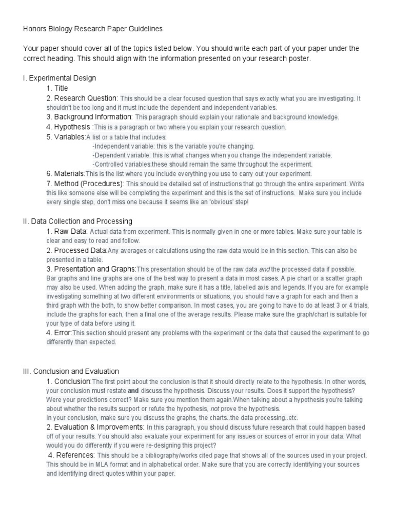 honorsbiologyresearchpaperguidelines | Experiment | Chart