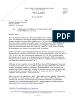 U.S. Department of Education letter to SMU