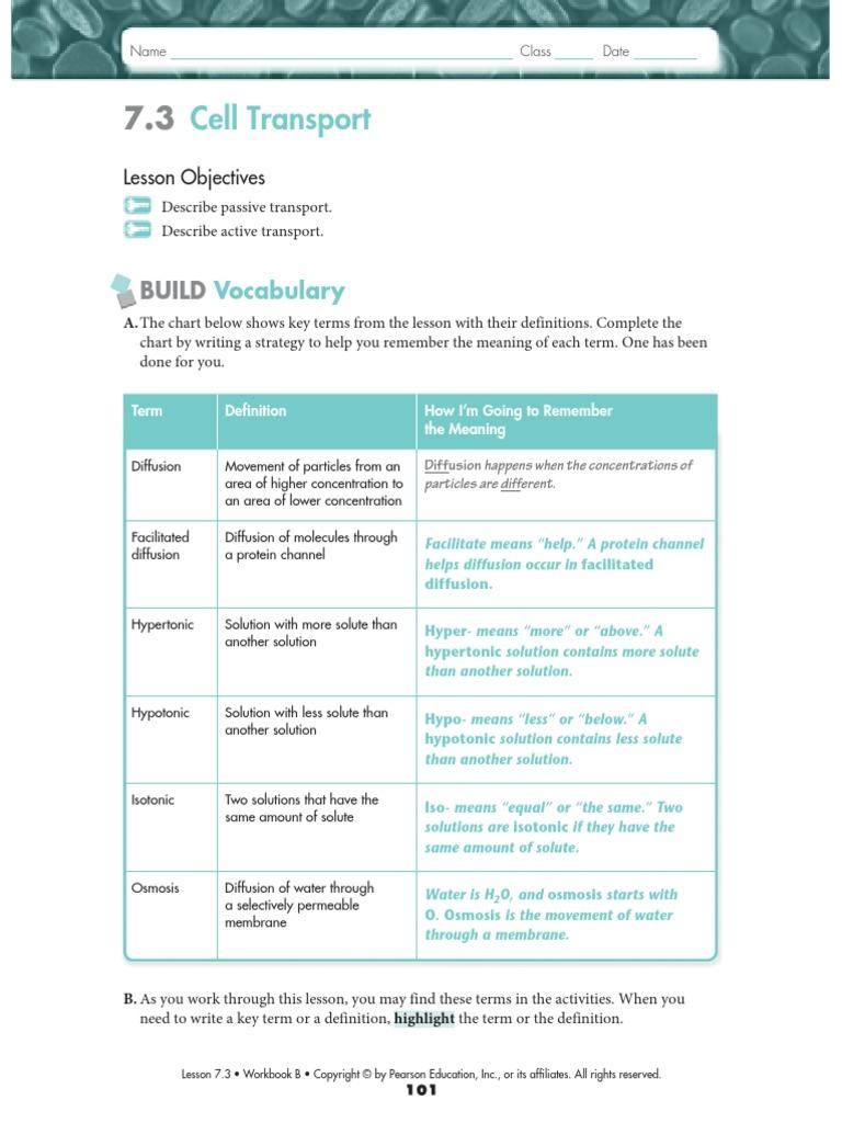 Biology 73 and 74 WS KEY Cell Biology – Cellular Transport Worksheet