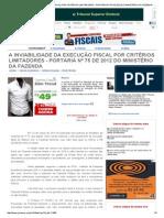 A Inviabilidade Da Execução Fiscal Por Critérios Limitadores - Portaria Nº 75 de 2012 Do Ministério Da Fazenda - Caio Fernandes Nogueira - Jurisway