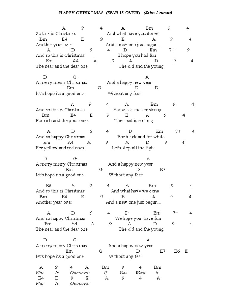 HAPPY CHRISTMAS (WAR IS OVER) John Lennon - guitar chords pdf