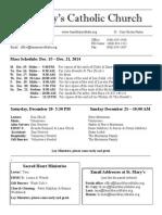 Bulletin for December 12, 2014