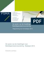 De sector van de Instellingen voor Bedrijfspensioenvoorziening - Boekjaar 2013