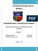 Propiedades Físico-Mecánicas de la Madera - Segundo informe - Densidad y Peso específico..docx
