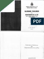 Calendario Festivo Folklorico del Departamento de La Paz