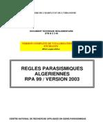 Reglement Parasismiques algerien V2003