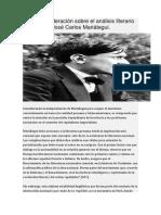 Breve Consideración Sobre El Análisis Literario Del Amauta José Carlos Mariátegui