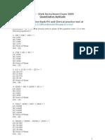 SBI Clerk Recruitment Exam 2009 Quantitative Aptitude Test