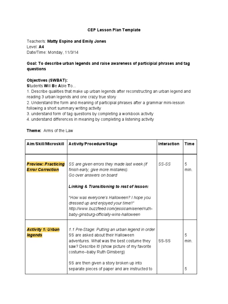 Lesson Plan Reading Urban Legends Lesson Plan Time - Soccer lesson plan template