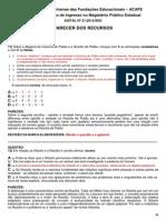 Prova Filosofia Acafe 2012 Professor Efetivo Parecer
