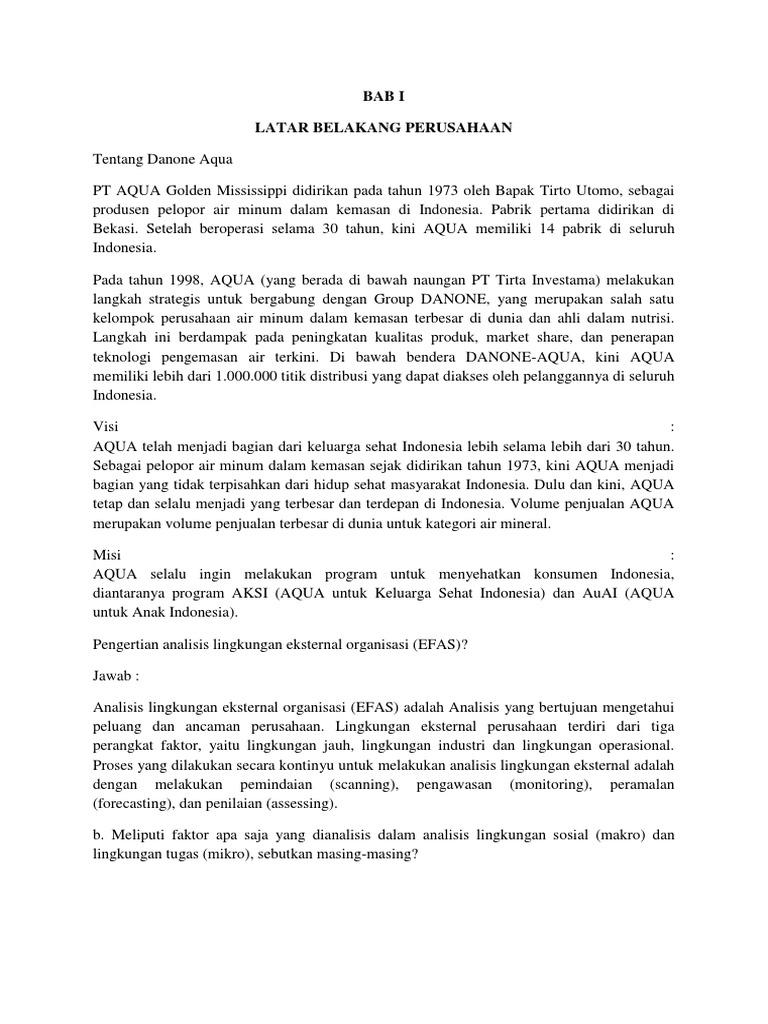 Manajemen Strategi Analisis Swot Pada Pt Aqua Danone Docx
