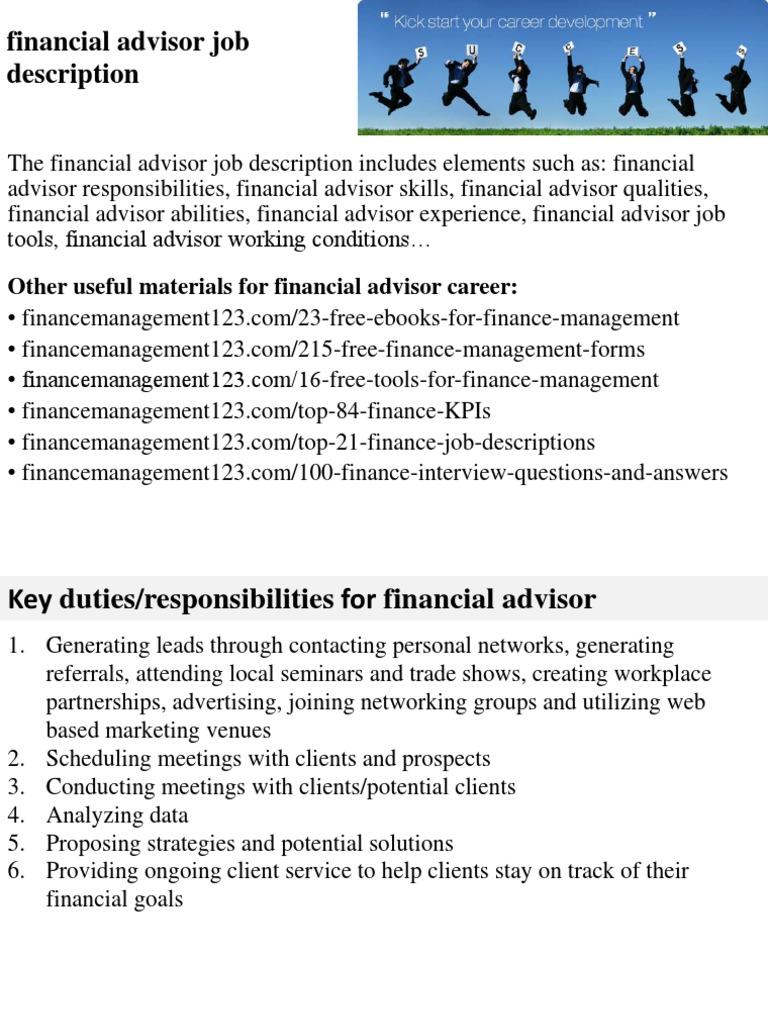 Beautiful Financial Advisor Job Description   Financial Adviser   Competence (Human  Resources)