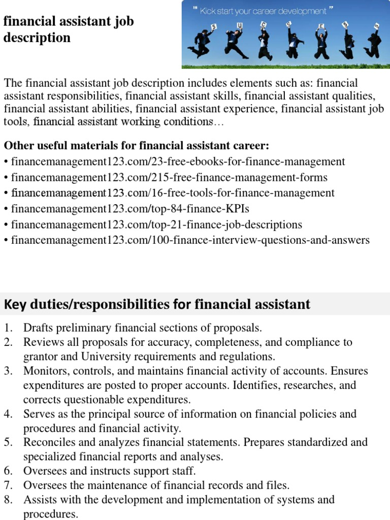 financial assistant job description accounting employment