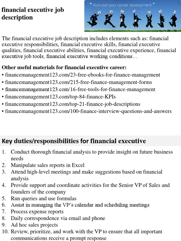 financial executive job description employment competence human