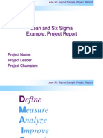 Six Sigma Report Out Template