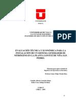 Evaluacion Tecnica y Economica Para La Instalacion de Un Sistema Generador de Nitrogeno en La Planta Lontue de Vina San Pedro