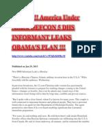 129359539 Alert America Under Attack Defcon 5 Dhs Informant Leaks Obama s Plan