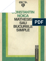 Constantin Noica-Mathesis Sau Bucuriile Simple