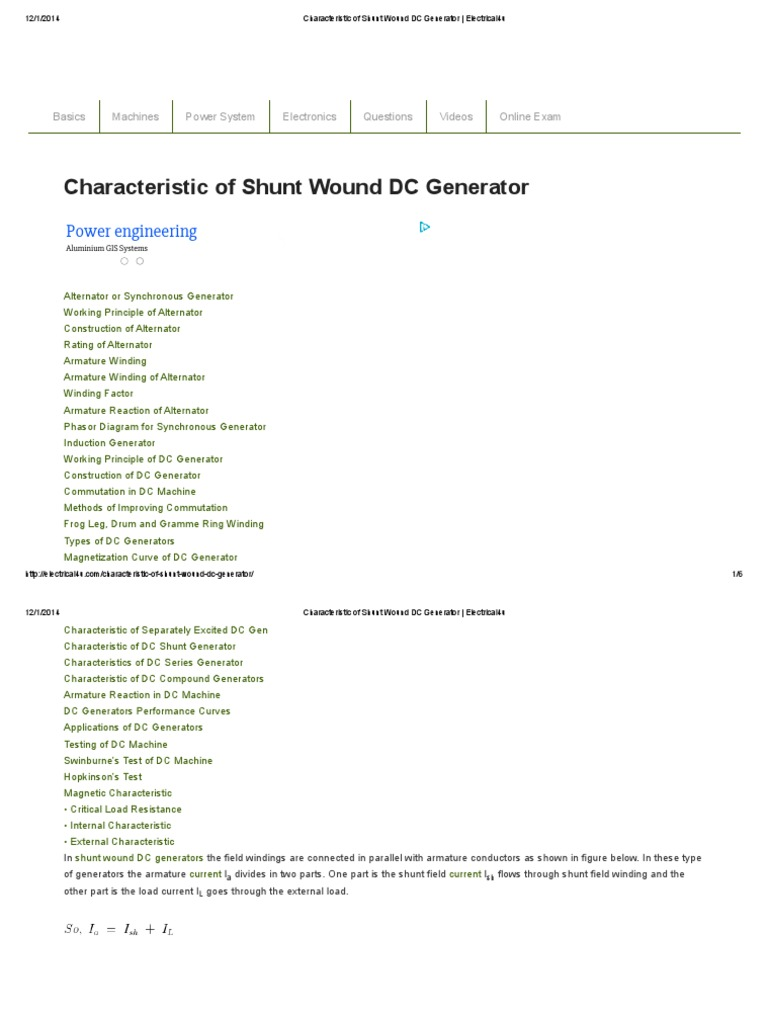 Characteristic Of Shunt Wound Dc Generator Electrical4u Electric Alternator Winding Diagram Current