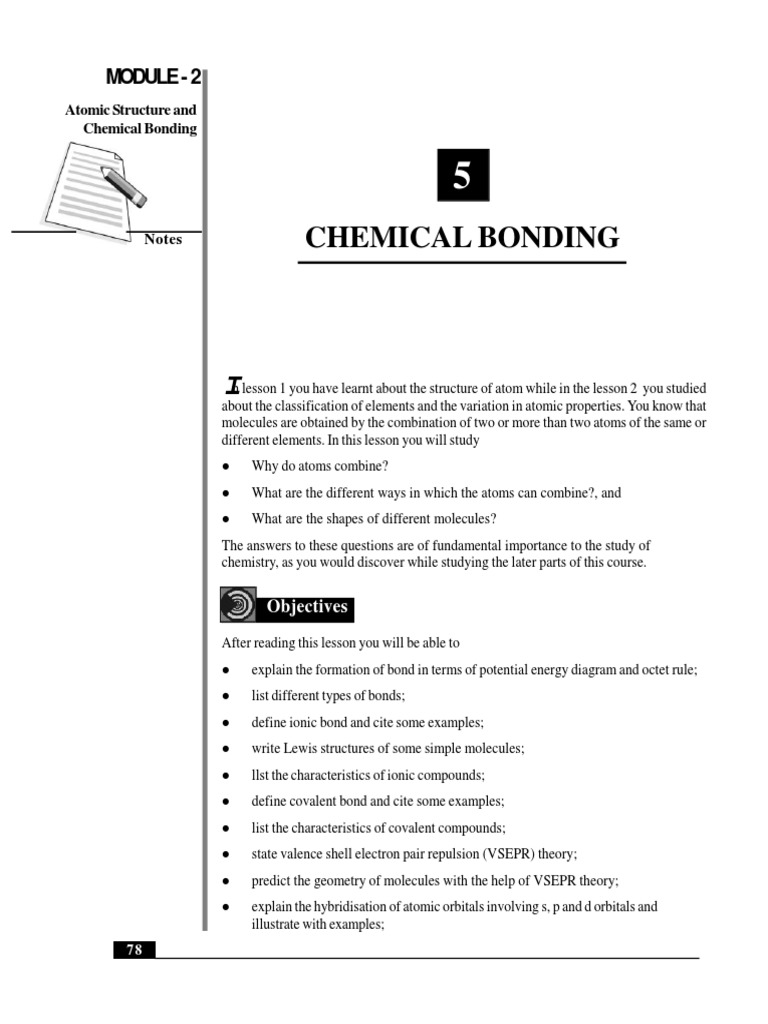 Chemical Bonding Class 11 Molecular Orbital Ionic Bonding