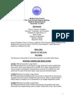 Medford City Council Agenda December 16, 2014