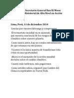Discurso de Ban Ki Moon en Español en #COP20. (Lima, 11 de diciembre de 2014)