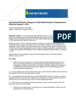 Continuing Education Changes for Real Estate Brokers & Salespersons Effective January 1, 2015