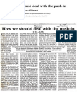 Dr. A. Z. M. Iftikhar-ul-Awwal (1998) 'How we should deal with the push-in', published in The Independent (Bangladesh), September 21, 1998 (the article was written under pseudonym 'Dr. A. Z. Mia')