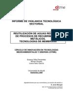 REUTILIZACIÓN DE AGUAS RESIDUALES DE PROCESOS DE RECUBRIMIENTOS METÁLICOS. TECNOLOGÍAS DE MEMBRANA
