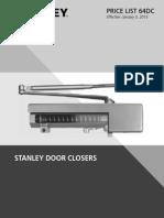 Stanley Door Closer Price Book- 2015
