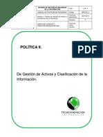 II. Politica de Gestión de Activ y Clasificac de La Información