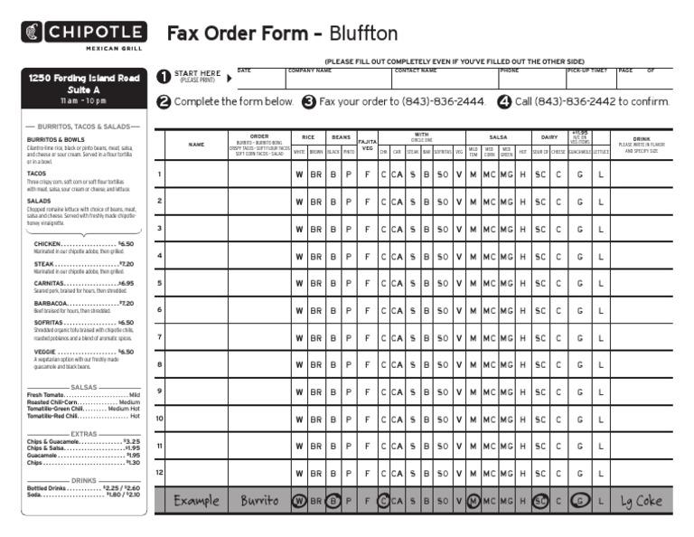 Chipotle Mexican Grill Order Form | Burrito | Taco