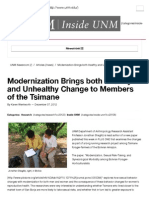 Modernization Brings Both Healthy and Unhealthy Change to Members of the Tsimane