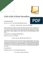 Dzikir Di Bulan Ramadhan