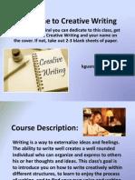 Creative Writing Class Parent Letter