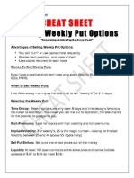 Selling Weekly Options Cheat Sheet
