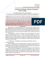 An Application of Energy and Exergy Analysis of Transport Sector of India