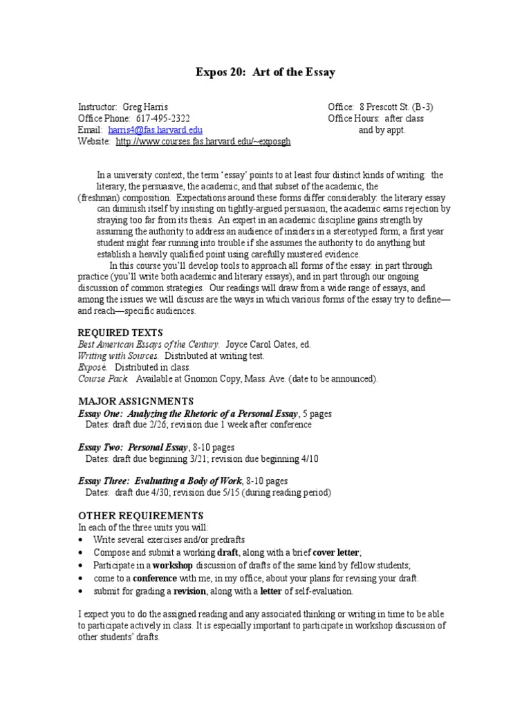 Essay' Syllabus Spring06 | Essays | Thesis